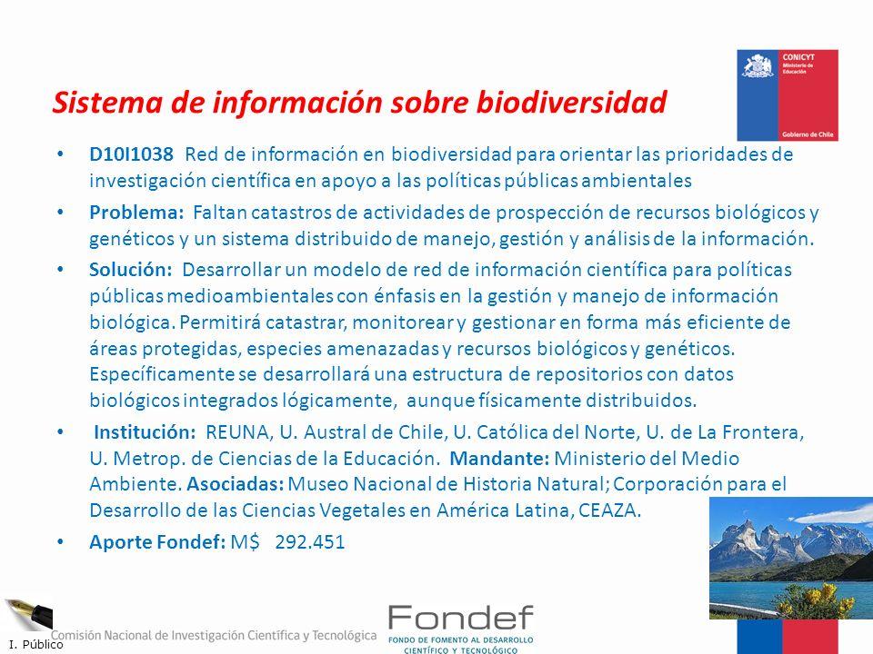 Sistema de información sobre biodiversidad D10I1038 Red de información en biodiversidad para orientar las prioridades de investigación científica en a