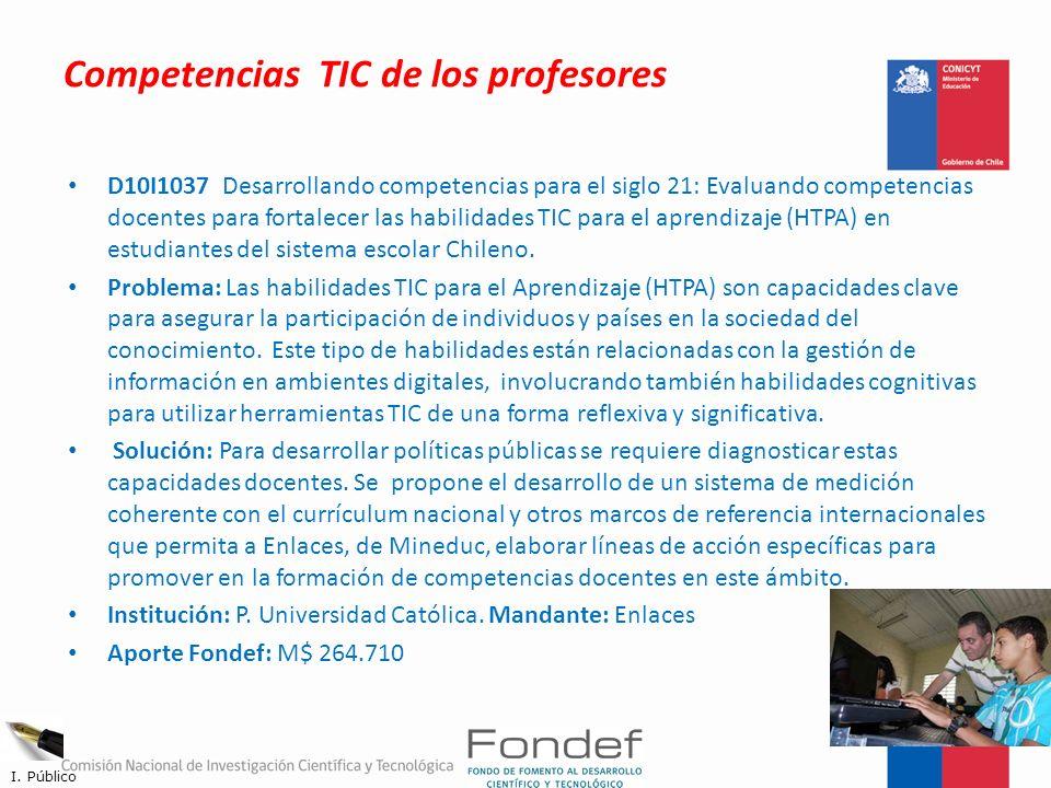 Competencias TIC de los profesores D10I1037 Desarrollando competencias para el siglo 21: Evaluando competencias docentes para fortalecer las habilidad