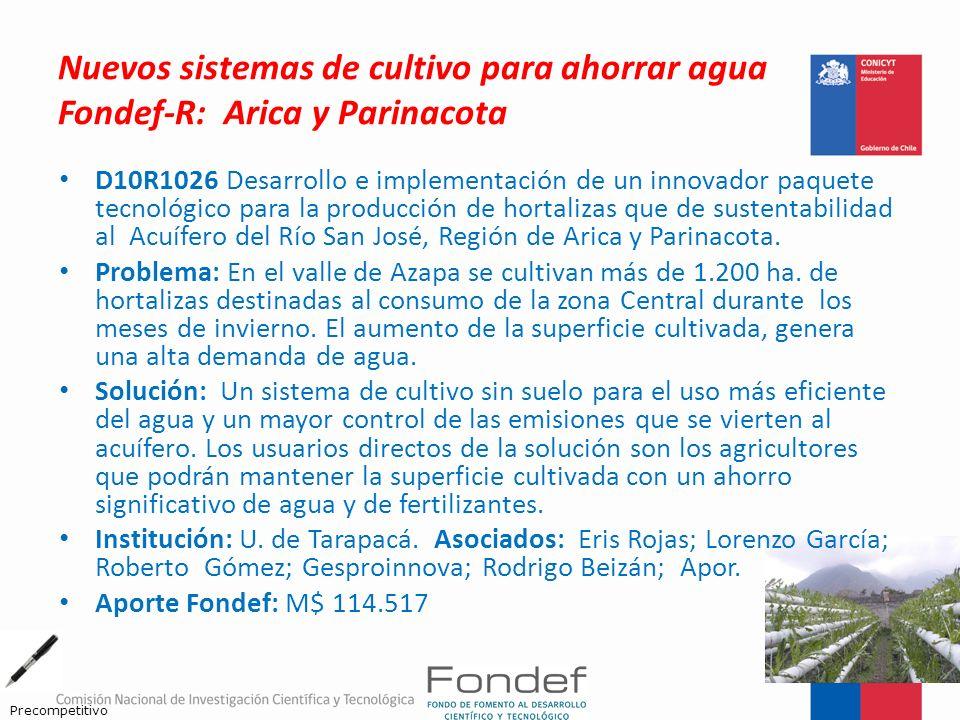 Nuevos sistemas de cultivo para ahorrar agua Fondef-R: Arica y Parinacota D10R1026 Desarrollo e implementación de un innovador paquete tecnológico par