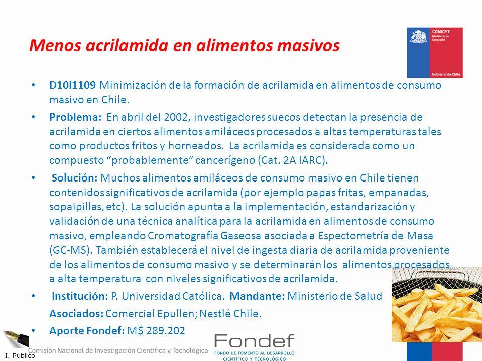 Menos acrilamida en alimentos masivos D10I1109 Minimización de la formación de acrilamida en alimentos de consumo masivo en Chile. Problema: En abril