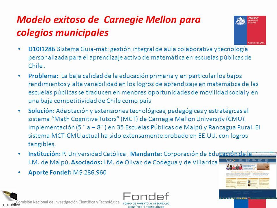 Modelo exitoso de Carnegie Mellon para colegios municipales D10I1286 Sistema Guia-mat: gestión integral de aula colaborativa y tecnología personalizad