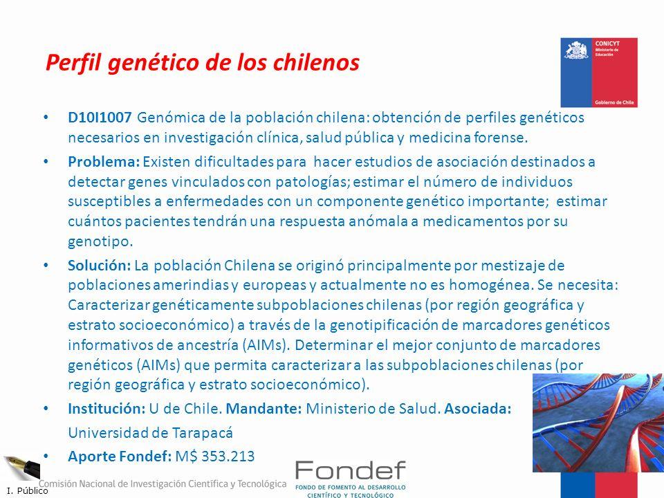 Perfil genético de los chilenos D10I1007 Genómica de la población chilena: obtención de perfiles genéticos necesarios en investigación clínica, salud