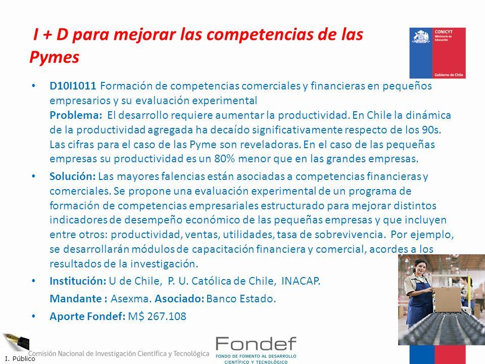 I + D para mejorar las competencias de las Pymes D10I1011 Formación de competencias comerciales y financieras en pequeños empresarios y su evaluación
