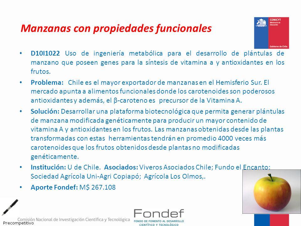 Manzanas con propiedades funcionales D10I1022 Uso de ingeniería metabólica para el desarrollo de plántulas de manzano que poseen genes para la síntesi