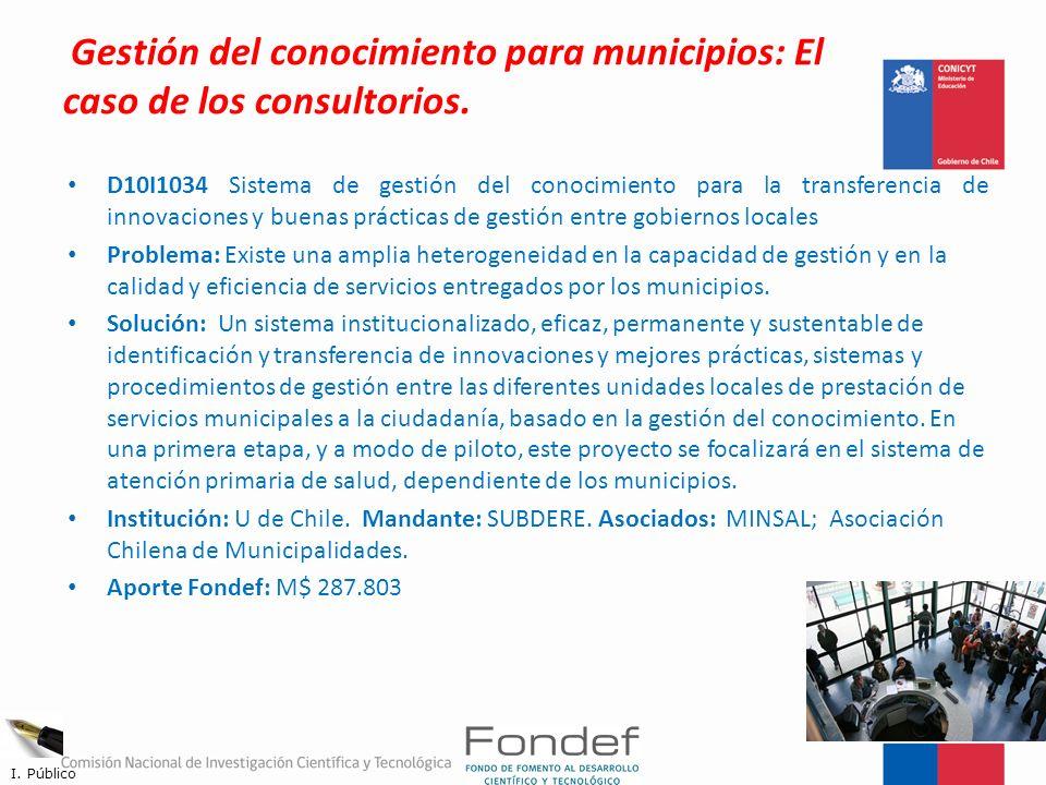 Gestión del conocimiento para municipios: El caso de los consultorios. D10I1034 Sistema de gestión del conocimiento para la transferencia de innovacio