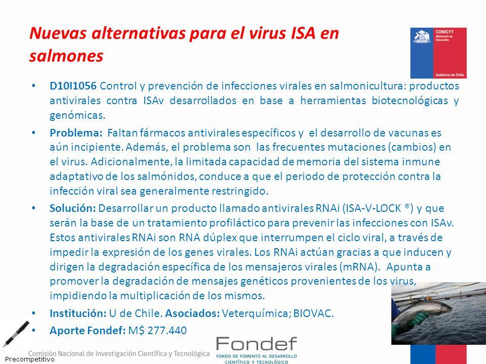 Nuevas alternativas para el virus ISA en salmones D10I1056 Control y prevención de infecciones virales en salmonicultura: productos antivirales contra