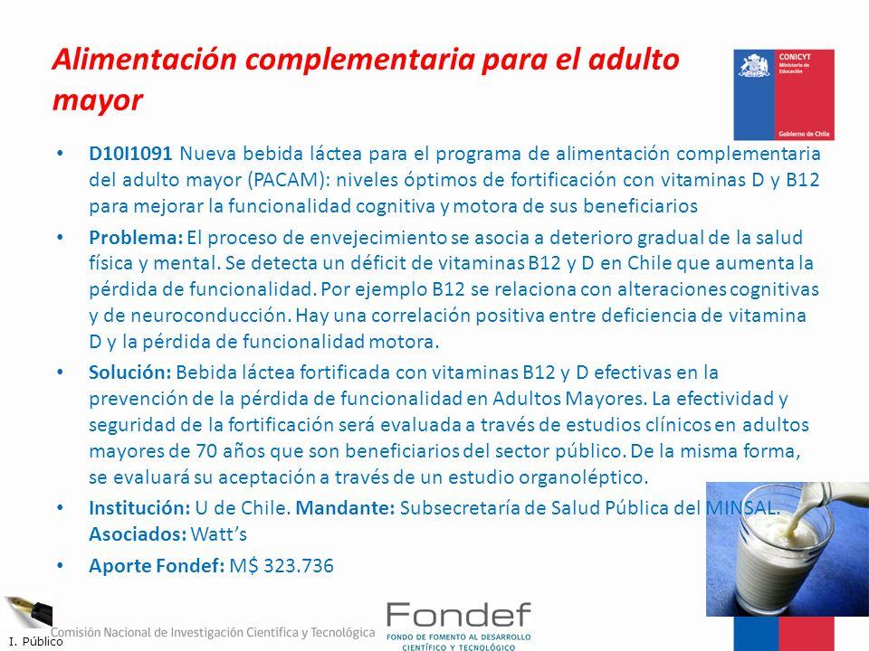 Alimentación complementaria para el adulto mayor D10I1091 Nueva bebida láctea para el programa de alimentación complementaria del adulto mayor (PACAM)