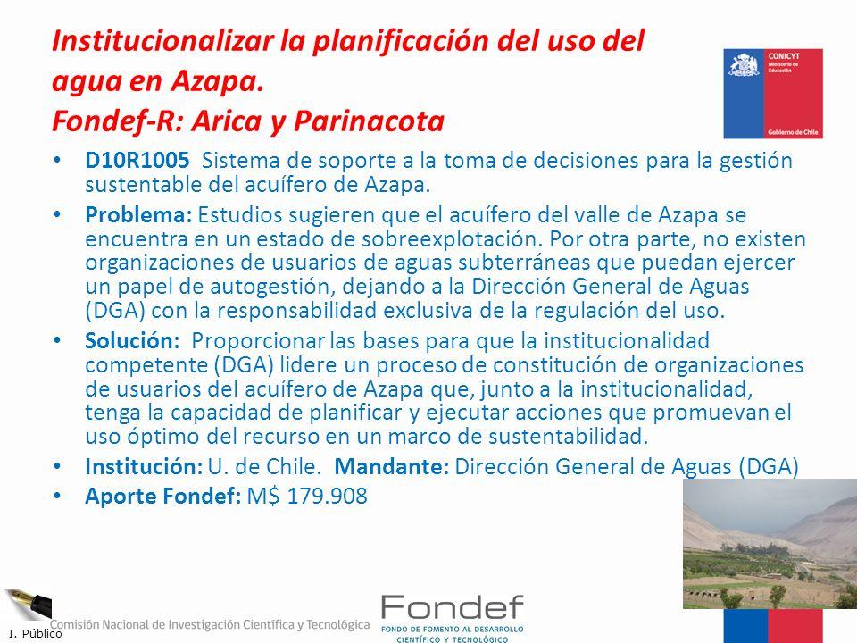 Institucionalizar la planificación del uso del agua en Azapa. Fondef-R: Arica y Parinacota D10R1005 Sistema de soporte a la toma de decisiones para la
