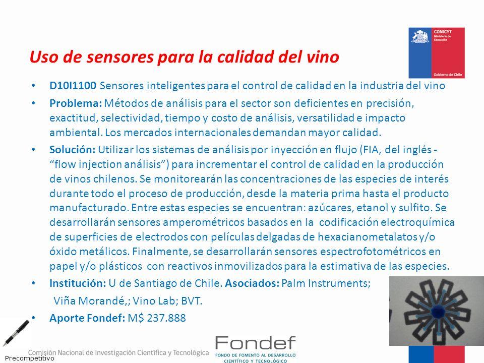 Uso de sensores para la calidad del vino D10I1100 Sensores inteligentes para el control de calidad en la industria del vino Problema: Métodos de análi