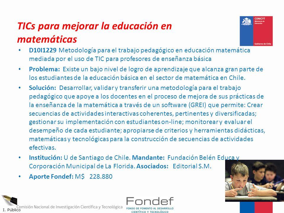 TICs para mejorar la educación en matemáticas D10I1229 Metodología para el trabajo pedagógico en educación matemática mediada por el uso de TIC para p