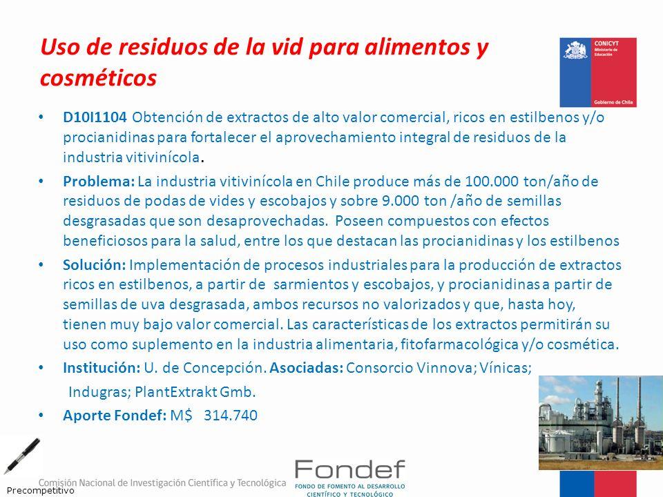 Uso de residuos de la vid para alimentos y cosméticos D10I1104 Obtención de extractos de alto valor comercial, ricos en estilbenos y/o procianidinas p