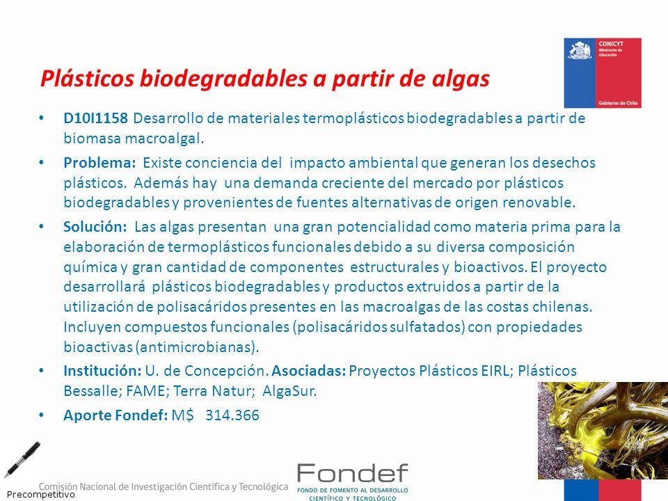 Plásticos biodegradables a partir de algas D10I1158 Desarrollo de materiales termoplásticos biodegradables a partir de biomasa macroalgal. Problema: E