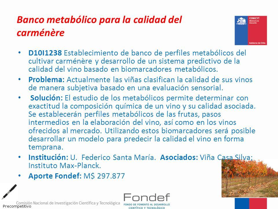 Banco metabólico para la calidad del carménère D10I1238 Establecimiento de banco de perfiles metabólicos del cultivar carménère y desarrollo de un sis