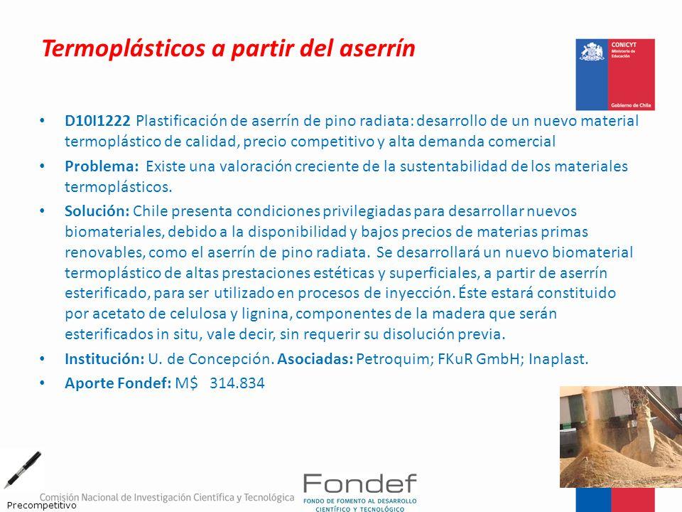 Termoplásticos a partir del aserrín D10I1222 Plastificación de aserrín de pino radiata: desarrollo de un nuevo material termoplástico de calidad, prec