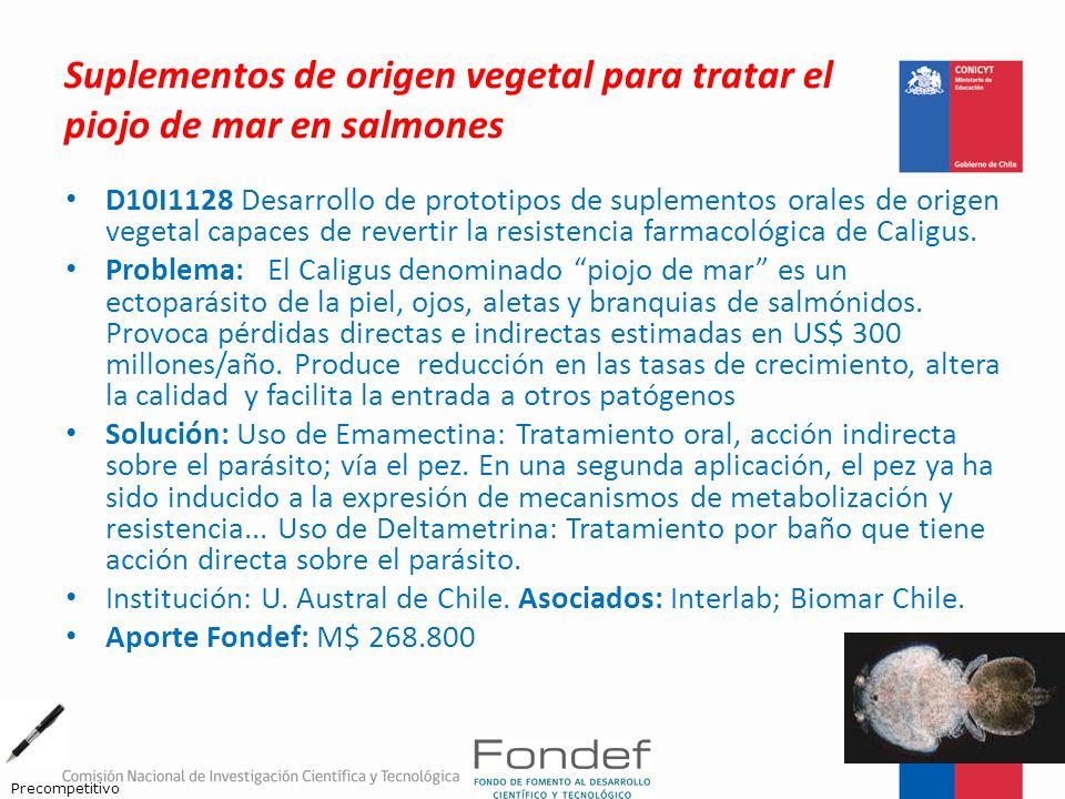 Suplementos de origen vegetal para tratar el piojo de mar en salmones D10I1128 Desarrollo de prototipos de suplementos orales de origen vegetal capace