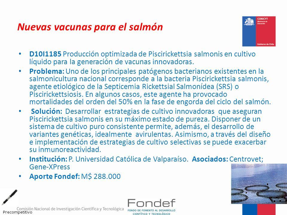 Nuevas vacunas para el salmón D10I1185 Producción optimizada de Piscirickettsia salmonis en cultivo líquido para la generación de vacunas innovadoras.