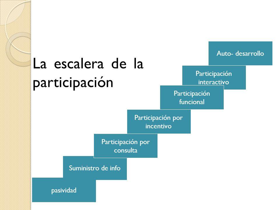 Suministro de info Participación interactivo pasividad Participación por incentivo Participación funcional Auto- desarrollo Participación por consulta