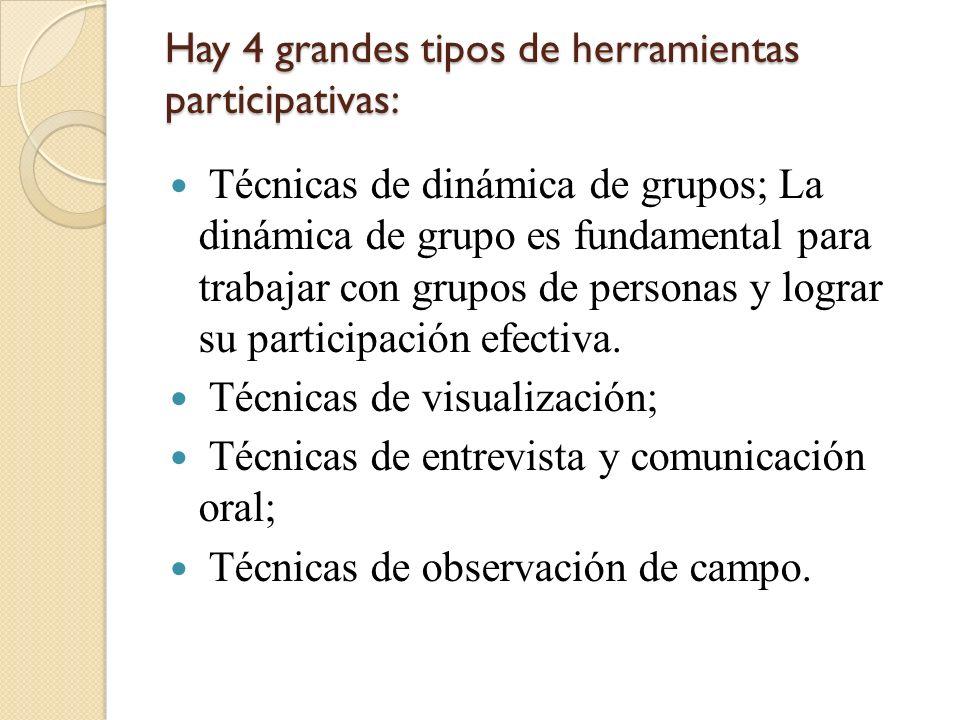 Hay 4 grandes tipos de herramientas participativas: Técnicas de dinámica de grupos; La dinámica de grupo es fundamental para trabajar con grupos de pe