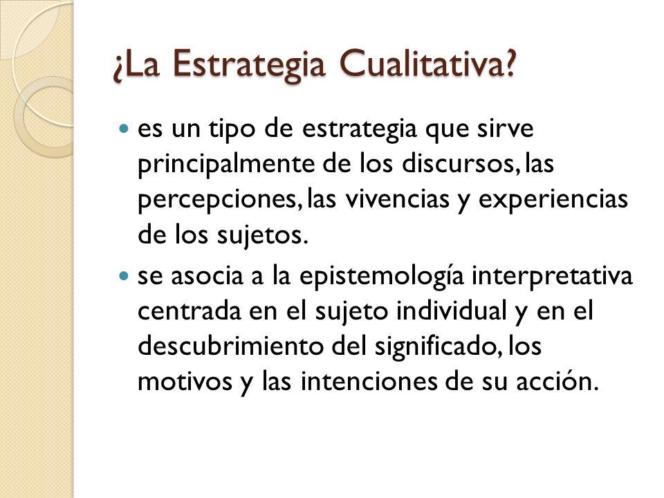 ¿La Estrategia Cualitativa? es un tipo de estrategia que sirve principalmente de los discursos, las percepciones, las vivencias y experiencias de los