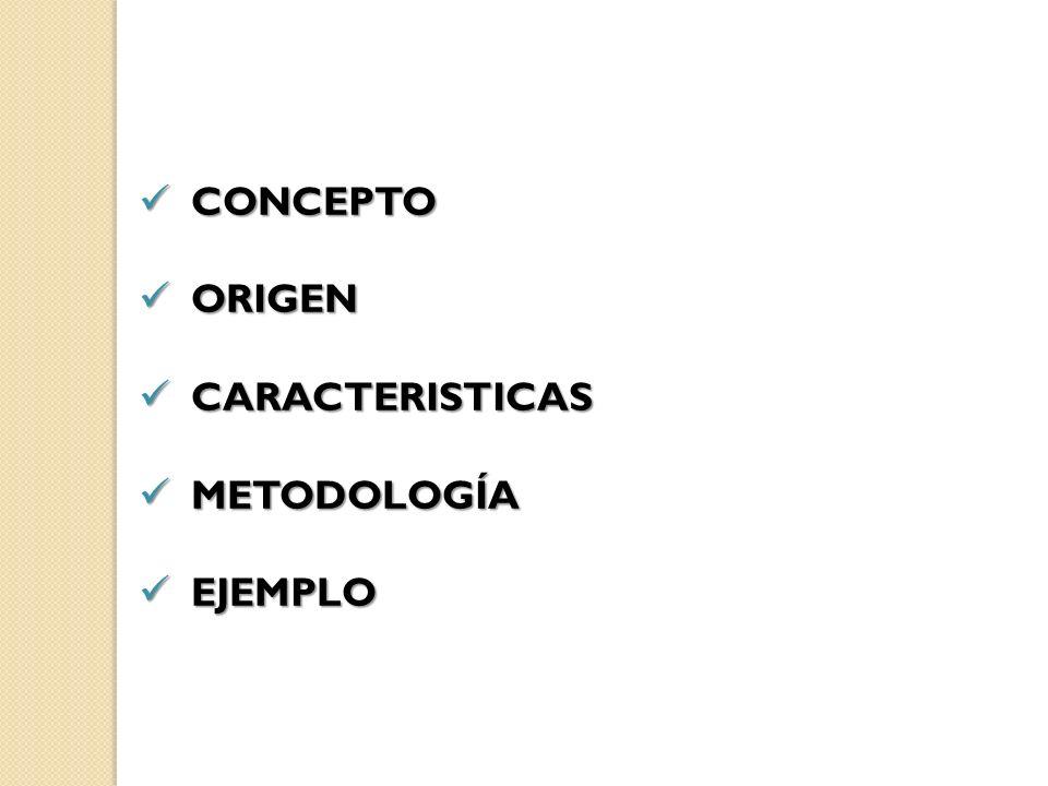 CONCEPTO CONCEPTO ORIGEN ORIGEN CARACTERISTICAS CARACTERISTICAS METODOLOGÍA METODOLOGÍA EJEMPLO EJEMPLO