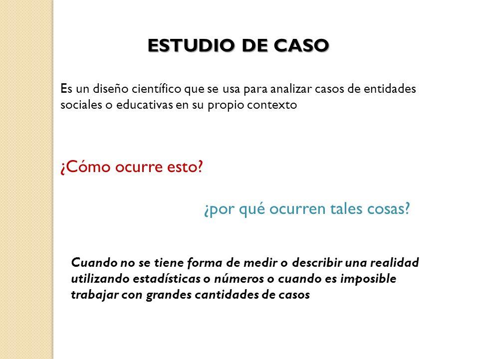 ESTUDIO DE CASO Es un diseño científico que se usa para analizar casos de entidades sociales o educativas en su propio contexto ¿Cómo ocurre esto? ¿po