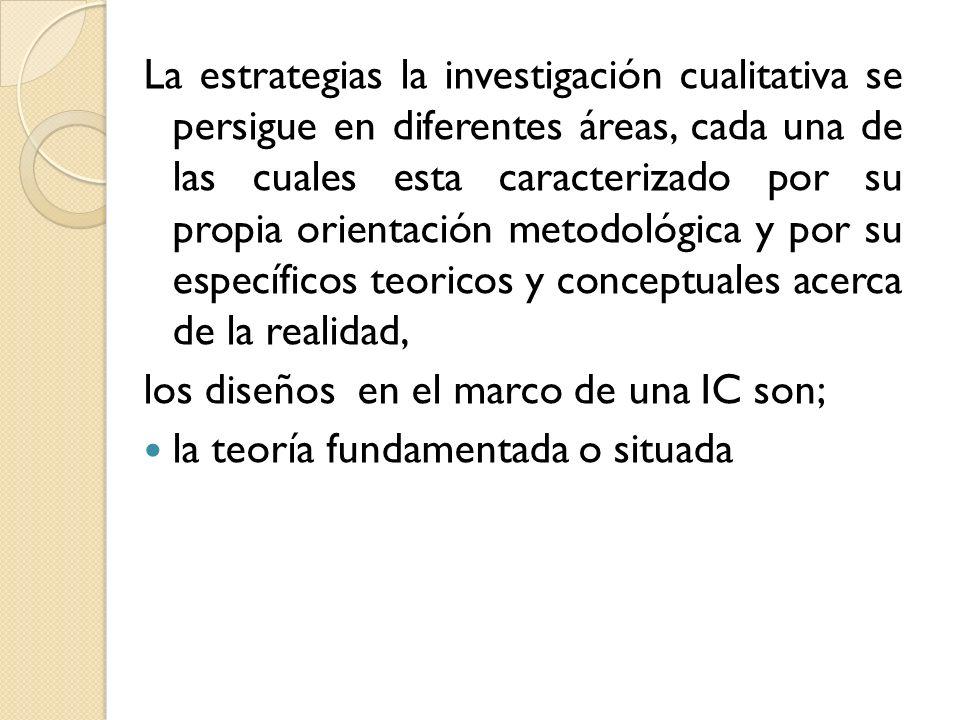 La estrategias la investigación cualitativa se persigue en diferentes áreas, cada una de las cuales esta caracterizado por su propia orientación metod