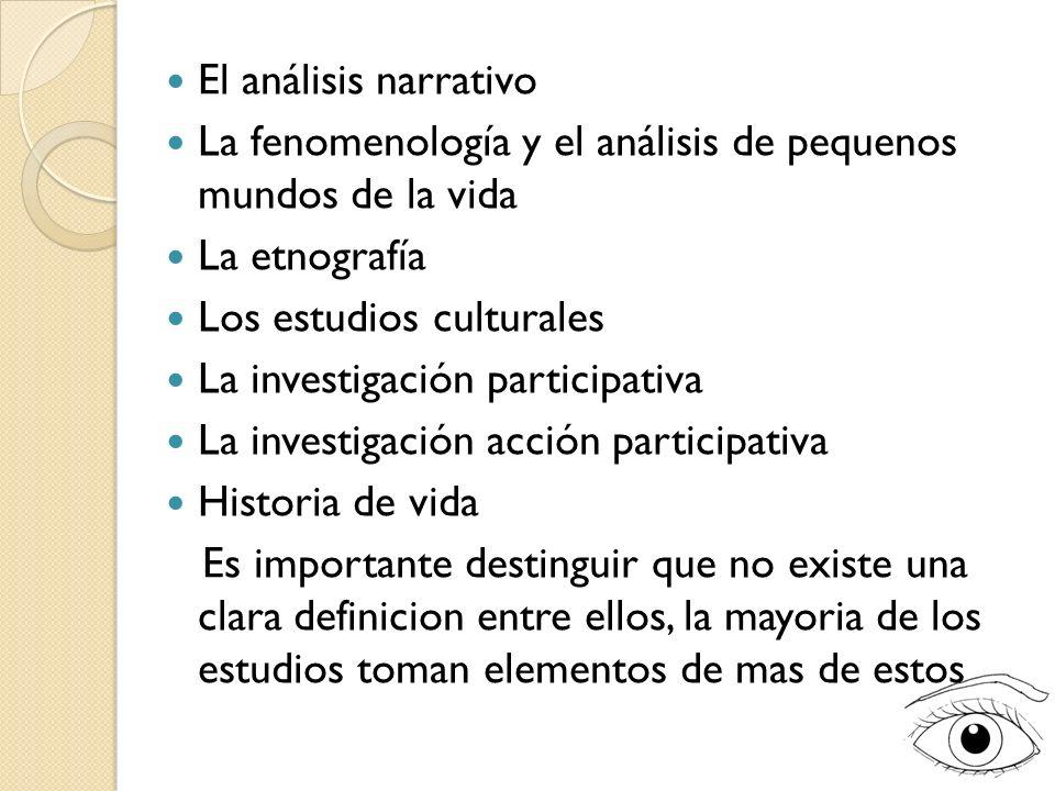 El análisis narrativo La fenomenología y el análisis de pequenos mundos de la vida La etnografía Los estudios culturales La investigación participativ