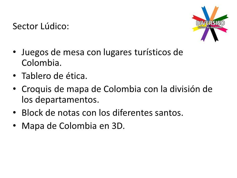 Sector Lúdico: Juegos de mesa con lugares turísticos de Colombia.