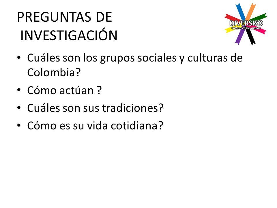 PREGUNTAS DE INVESTIGACIÓN Cuáles son los grupos sociales y culturas de Colombia.