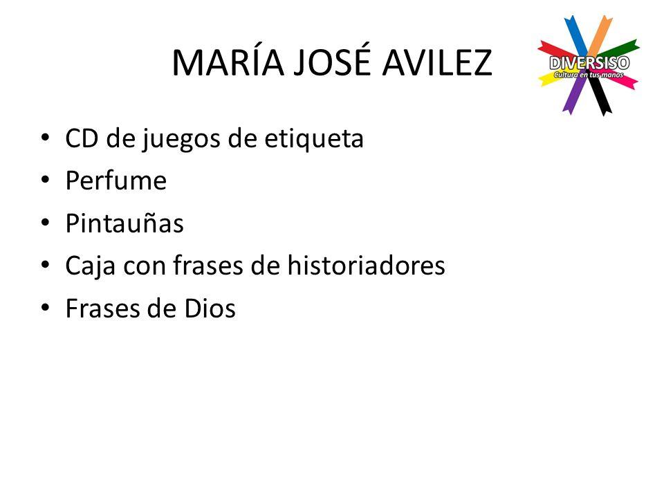 MARÍA JOSÉ AVILEZ CD de juegos de etiqueta Perfume Pintauñas Caja con frases de historiadores Frases de Dios