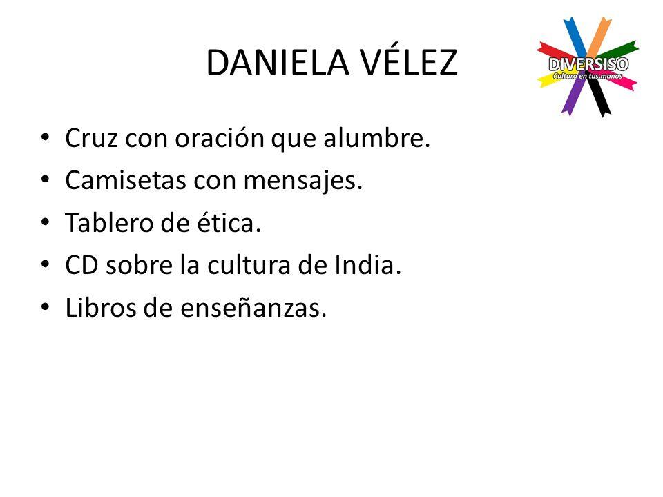 DANIELA VÉLEZ Cruz con oración que alumbre. Camisetas con mensajes.