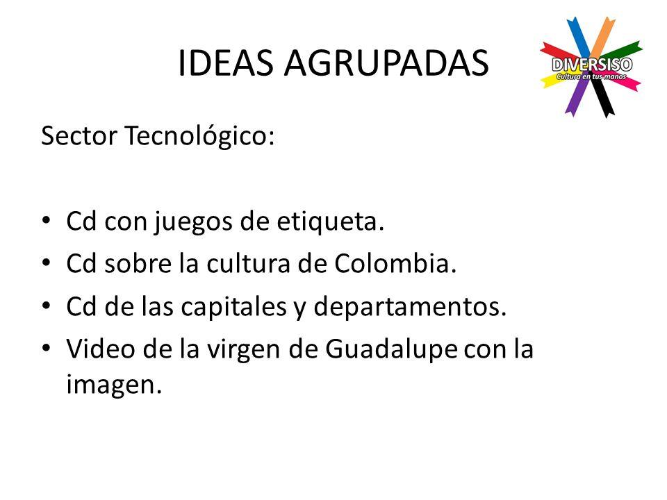 IDEAS AGRUPADAS Sector Tecnológico: Cd con juegos de etiqueta.