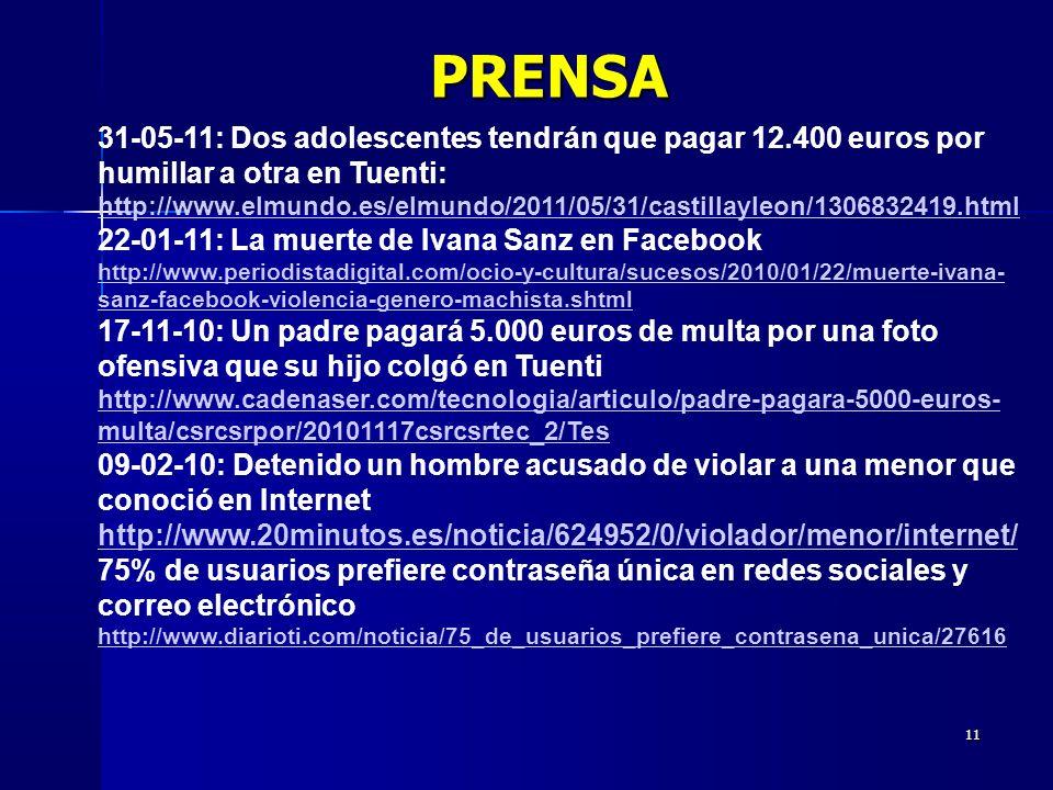 11 31-05-11: Dos adolescentes tendrán que pagar 12.400 euros por humillar a otra en Tuenti: http://www.elmundo.es/elmundo/2011/05/31/castillayleon/1306832419.html 22-01-11: La muerte de Ivana Sanz en Facebook http://www.periodistadigital.com/ocio-y-cultura/sucesos/2010/01/22/muerte-ivana- sanz-facebook-violencia-genero-machista.shtml 17-11-10: Un padre pagará 5.000 euros de multa por una foto ofensiva que su hijo colgó en Tuenti http://www.cadenaser.com/tecnologia/articulo/padre-pagara-5000-euros- multa/csrcsrpor/20101117csrcsrtec_2/Tes 09-02-10: Detenido un hombre acusado de violar a una menor que conoció en Internet http://www.20minutos.es/noticia/624952/0/violador/menor/internet/ 75% de usuarios prefiere contraseña única en redes sociales y correo electrónico http://www.diarioti.com/noticia/75_de_usuarios_prefiere_contrasena_unica/27616PRENSA