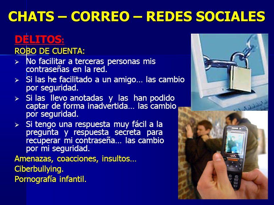 13 CHATS – CORREO – REDES SOCIALES DELITOS : ROBO DE CUENTA: No facilitar a terceras personas mis contraseñas en la red.