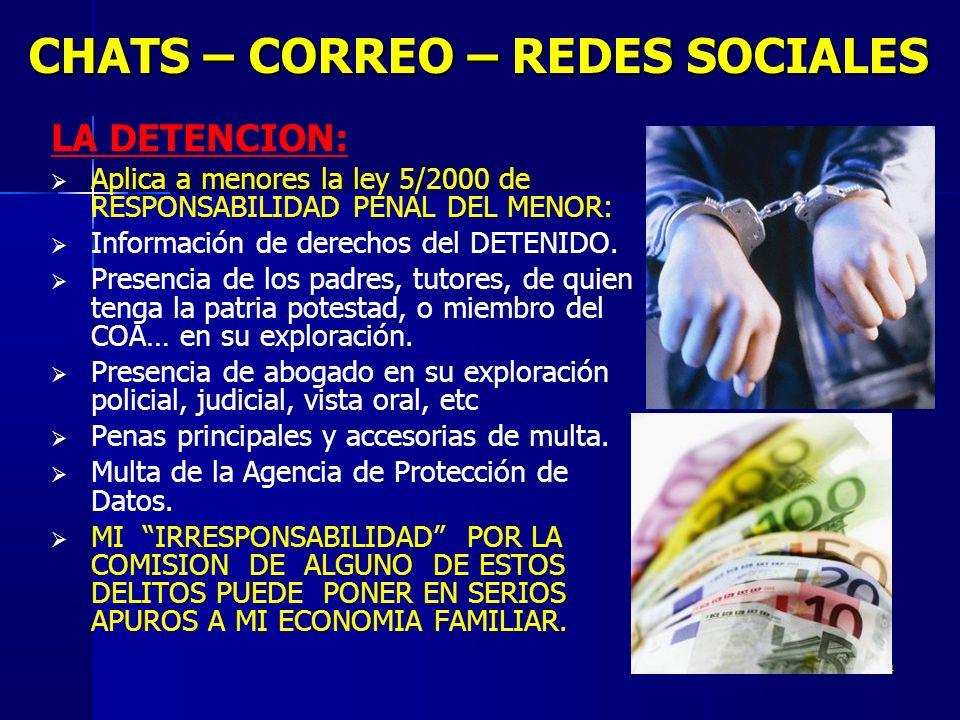 14 CHATS – CORREO – REDES SOCIALES LA DETENCION: Aplica a menores la ley 5/2000 de RESPONSABILIDAD PENAL DEL MENOR: Información de derechos del DETENIDO.