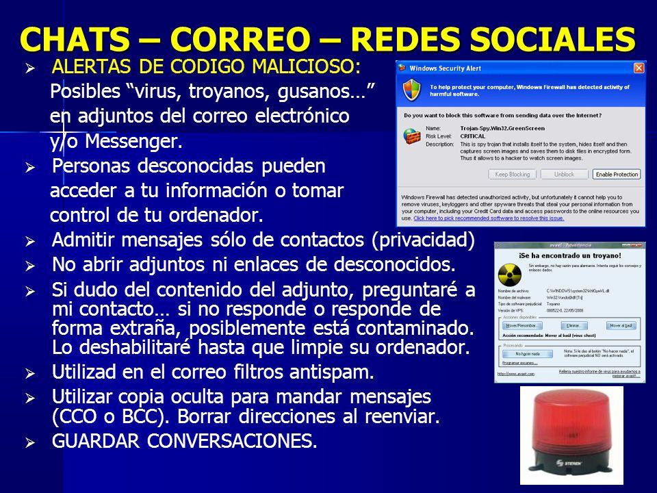 16 CHATS – CORREO – REDES SOCIALES ALERTAS DE CODIGO MALICIOSO: Posibles virus, troyanos, gusanos… en adjuntos del correo electrónico y/o Messenger.
