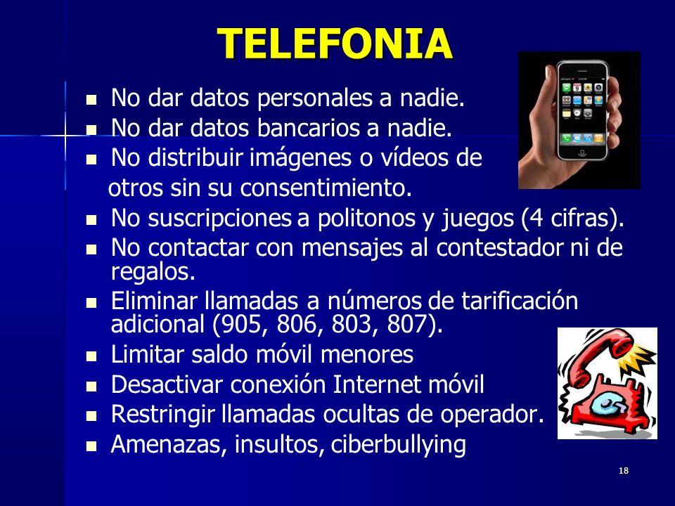 18 TELEFONIA No dar datos personales a nadie. No dar datos bancarios a nadie.