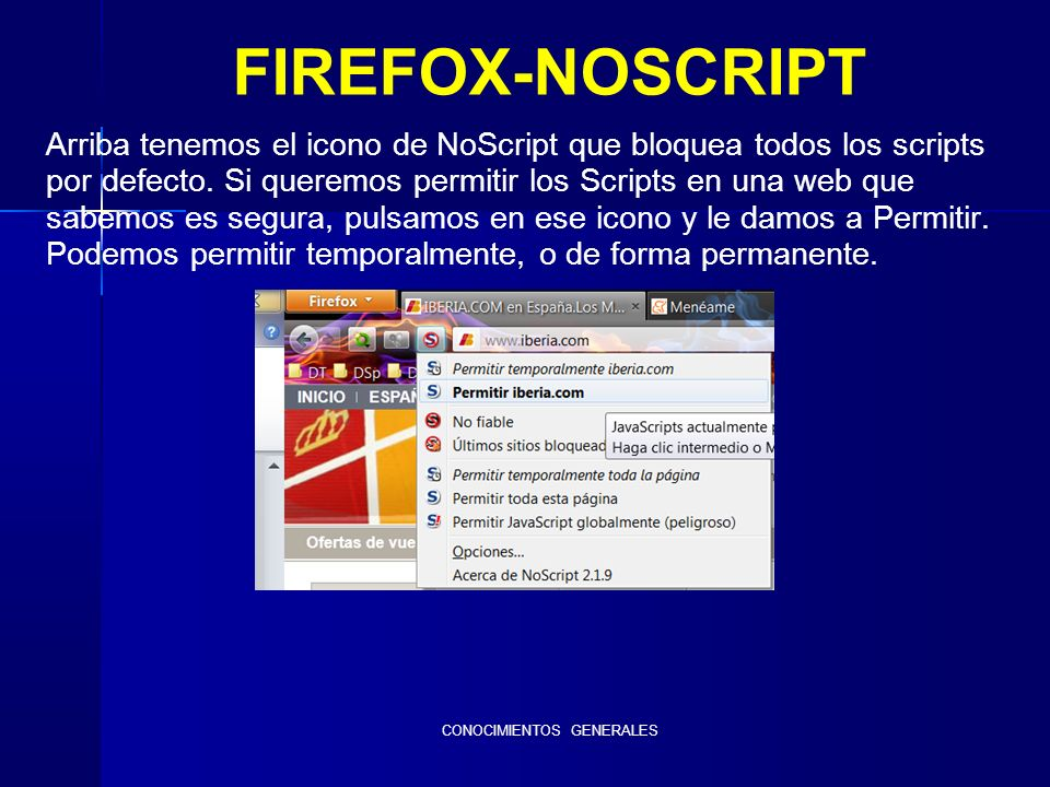 CONOCIMIENTOS GENERALES FIREFOX-NOSCRIPT Arriba tenemos el icono de NoScript que bloquea todos los scripts por defecto.
