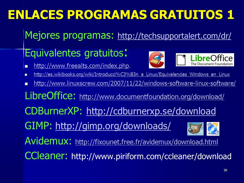 35 Mejores programas: http://techsupportalert.com/dr/ http://techsupportalert.com/dr/ Equivalentes gratuitos : http://www.freealts.com/index.php.