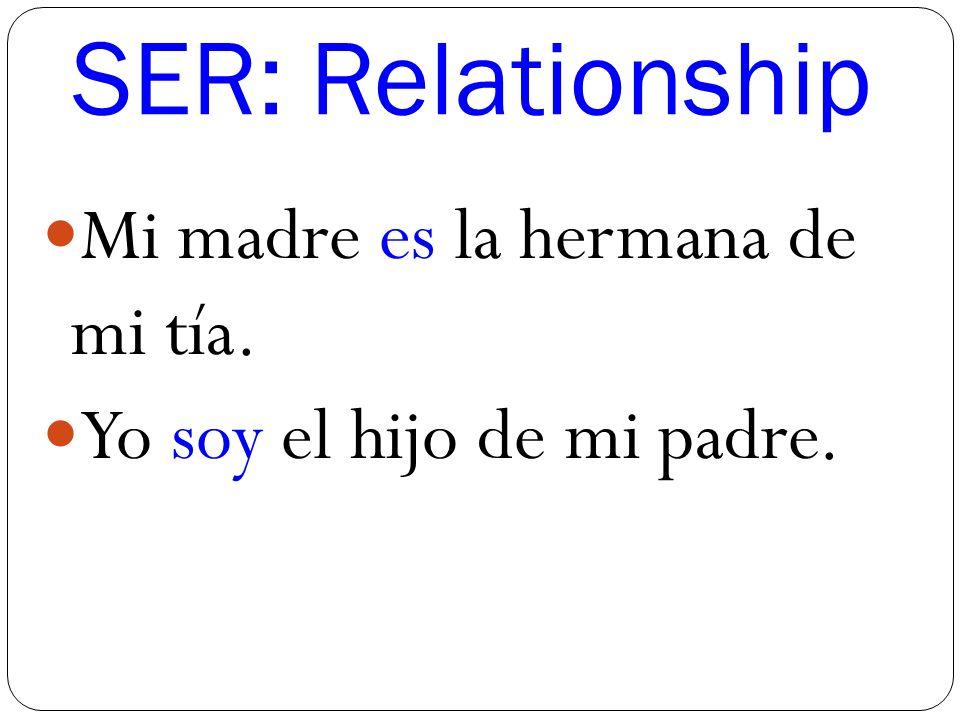 SER: Relationship Mi madre es la hermana de mi tía. Yo soy el hijo de mi padre.