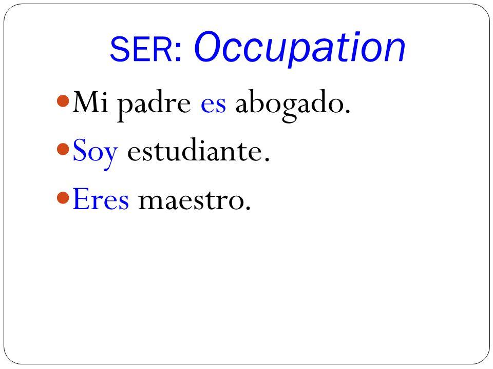 SER: Occupation Mi padre es abogado. Soy estudiante. Eres maestro.