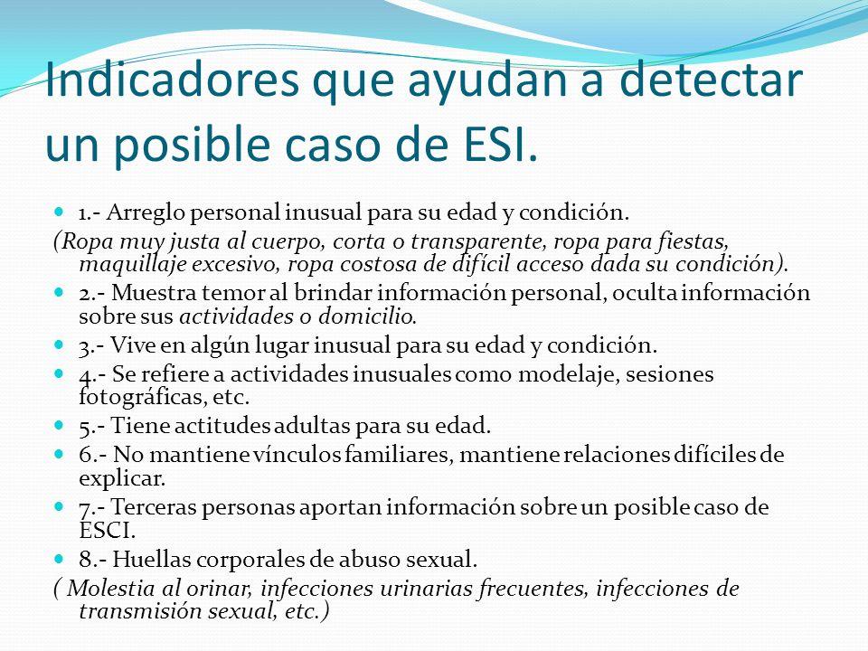 Indicadores que ayudan a detectar un posible caso de ESI. 1.- Arreglo personal inusual para su edad y condición. (Ropa muy justa al cuerpo, corta o tr