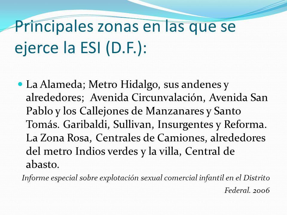Principales zonas en las que se ejerce la ESI (D.F.): La Alameda; Metro Hidalgo, sus andenes y alrededores; Avenida Circunvalación, Avenida San Pablo