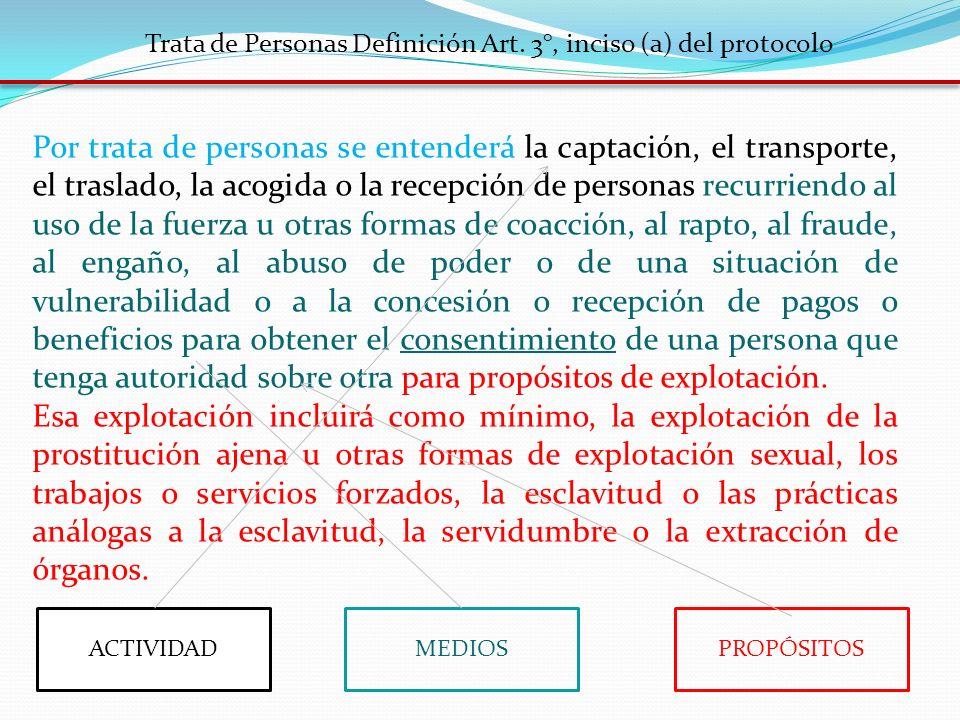 Trata de Personas Definición Art. 3°, inciso (a) del protocolo Por trata de personas se entenderá la captación, el transporte, el traslado, la acogida