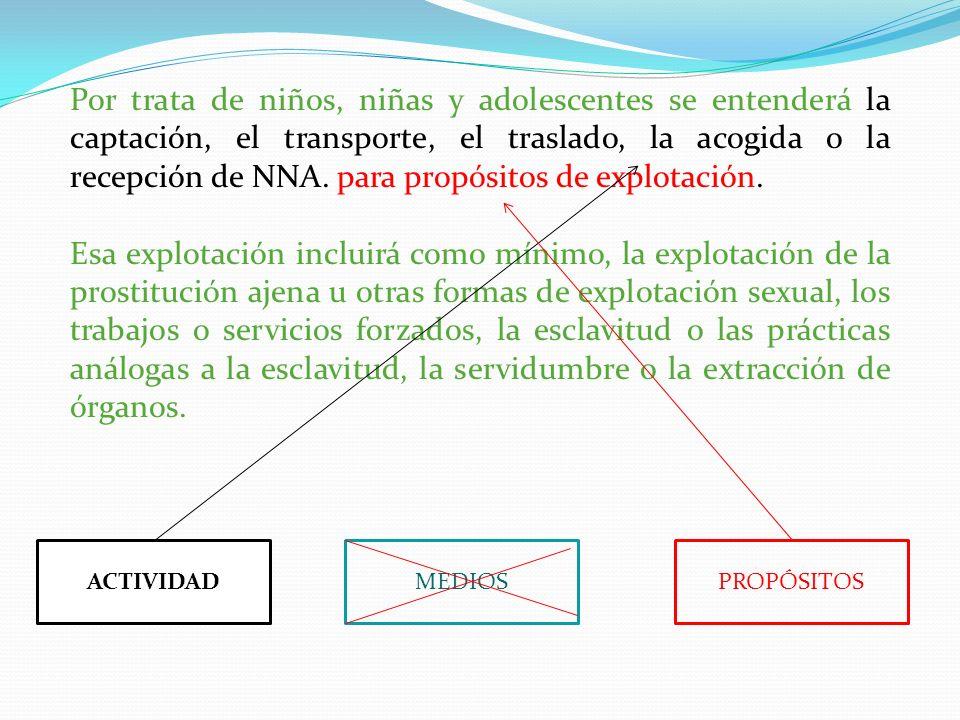 Por trata de niños, niñas y adolescentes se entenderá la captación, el transporte, el traslado, la acogida o la recepción de NNA. para propósitos de e