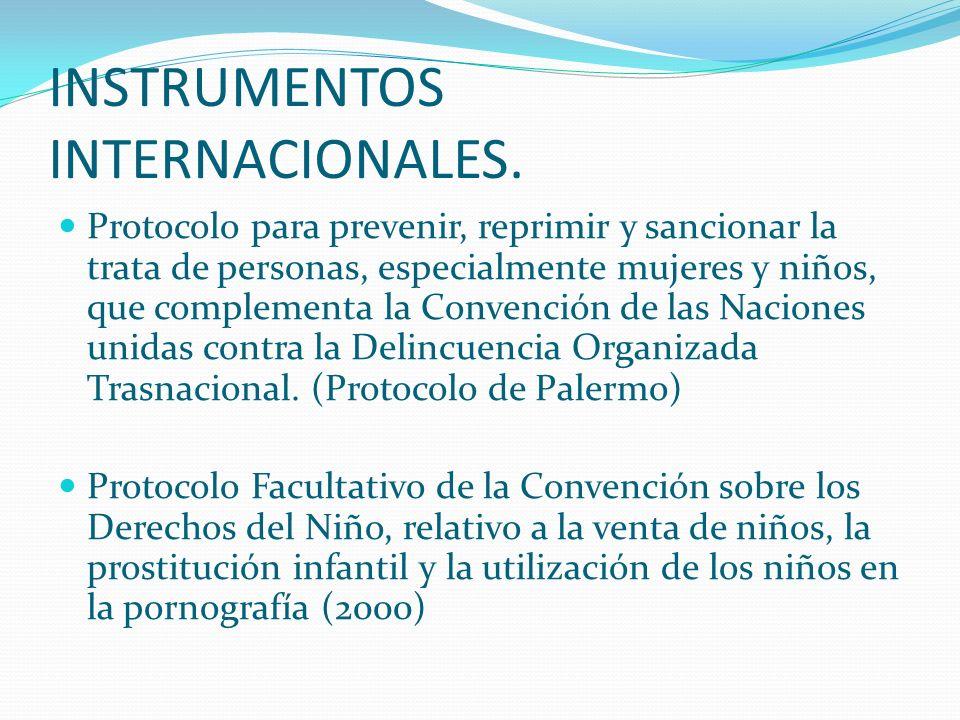 INSTRUMENTOS INTERNACIONALES. Protocolo para prevenir, reprimir y sancionar la trata de personas, especialmente mujeres y niños, que complementa la Co