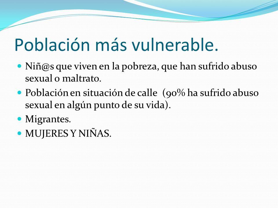 Población más vulnerable. Niñ@s que viven en la pobreza, que han sufrido abuso sexual o maltrato. Población en situación de calle (90% ha sufrido abus