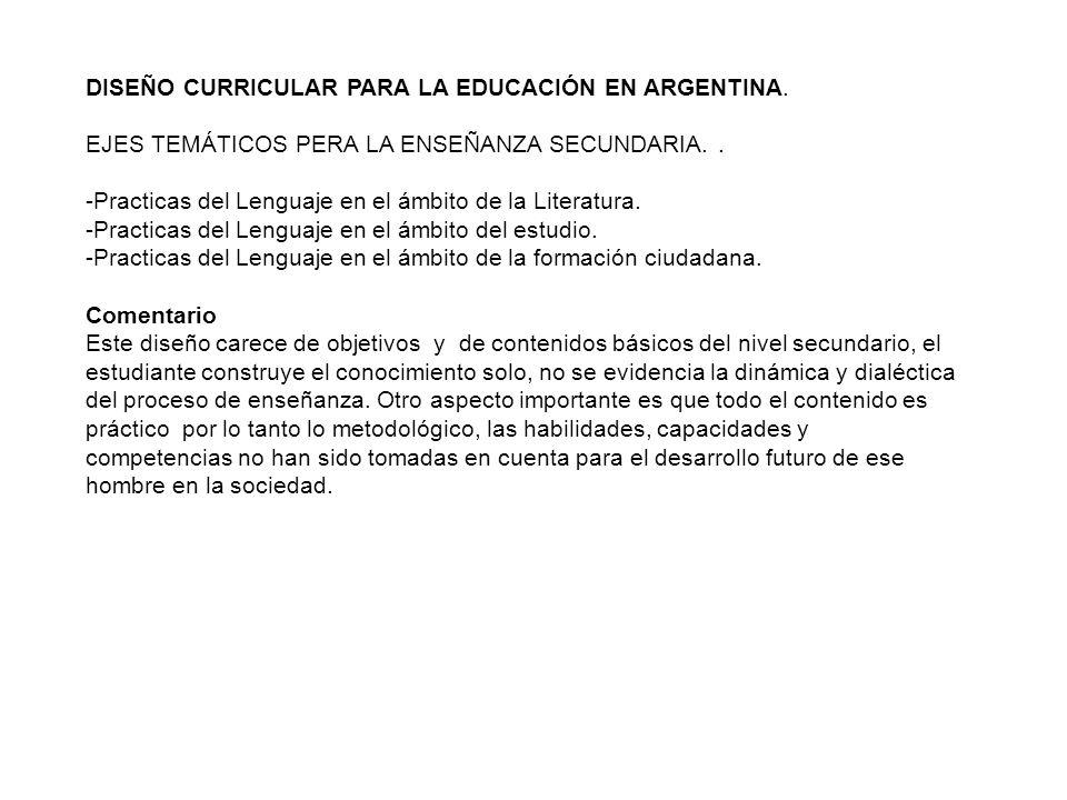 DISEÑO CURRICULAR PARA LA EDUCACIÓN EN ARGENTINA. EJES TEMÁTICOS PERA LA ENSEÑANZA SECUNDARIA.. -Practicas del Lenguaje en el ámbito de la Literatura.