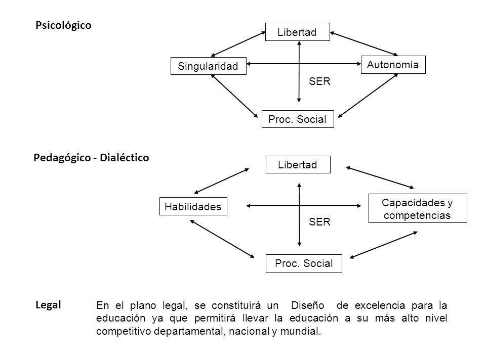 Psicológico Singularidad Libertad Autonomía Proc. Social Pedagógico - Dialéctico Habilidades Capacidades y competencias Proc. Social Libertad SER Lega