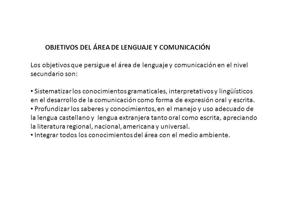 OBJETIVOS DEL ÁREA DE LENGUAJE Y COMUNICACIÓN Los objetivos que persigue el área de lenguaje y comunicación en el nivel secundario son: Sistematizar l